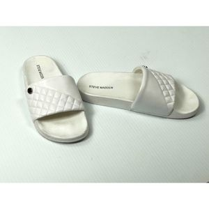 Steve Madden Queenie Slides White Sz 8